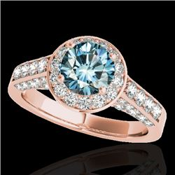1.80 CTW SI Certified Fancy Blue Diamond Solitaire Halo Ring 10K Rose Gold - REF-178N2A - 34048
