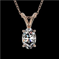 0.50 CTW Certified VS/SI Quality Oval Diamond Solitaire Necklace 10K Rose Gold - REF-79N5A - 33164