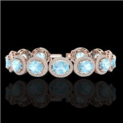 23 CTW Aquamarine & Micro Pave VS/SI Diamond Certified Bracelet 10K Rose Gold - REF-436Y4X - 22681