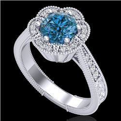 1.33 CTW Fancy Intense Blue Diamond Solitaire Art Deco Ring 18K White Gold - REF-227M3F - 37957