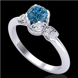 1 CTW Intense Blue Diamond Solitaire Engagement Art Deco Ring 18K White Gold - REF-127A3V - 37397