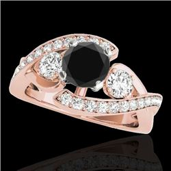 1.76 CTW Certified VS Black Diamond Bypass Solitaire Ring 10K Rose Gold - REF-108X7R - 35040