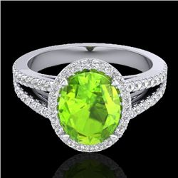 3 CTW Peridot & Micro VS/SI Diamond Halo Solitaire Ring 18K White Gold - REF-72V2Y - 20945