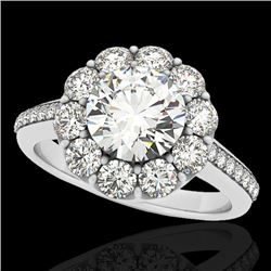 2 CTW H-SI/I Certified Diamond Solitaire Halo Ring 10K White Gold - REF-199X5R - 33250