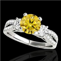 1.50 CTW Certified SI/I Fancy Intense Yellow Diamond 3 Stone Ring 10K White Gold - REF-172K7W - 3541