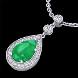 2.75 CTW Emerald & Micro Pave VS/SI Diamond Certified Necklace 18K White Gold - REF-57W3H - 23133