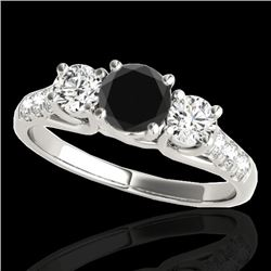 3.25 CTW Certified VS Black Diamond 3 Stone Ring 10K White Gold - REF-254F5N - 35451