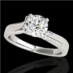 1.18 CTW H-SI/I Certified Diamond Solitaire Ring 10K White Gold - REF-180R2K - 35285