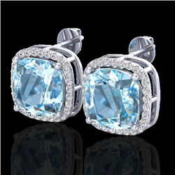 12 CTW Sky Blue Topaz & Pave Halo VS/SI Diamond Earrings 18K White Gold - REF-83M3F - 23070