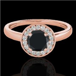 1.15 CTW Certified VS Black Diamond Solitaire Halo Ring 10K Rose Gold - REF-48R2K - 33467