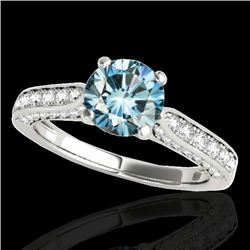 1.60 CTW SI Certified Fancy Blue Diamond Solitaire Ring 10K White Gold - REF-180R2K - 34921