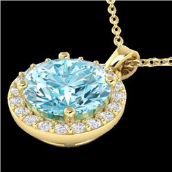 2 CTW Sky Topaz & Halo VS/SI Diamond Micro Pave Necklace 18K Yellow Gold - REF-41K3W - 21556