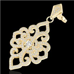 2.50 CTW Micro Pave VS/SI Diamond Certified Designer Earrings 14K Yellow Gold - REF-236V4Y - 22551