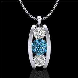 1.07 CTW Fancy Intense Blue Diamond Solitaire Art Deco Necklace 18K White Gold - REF-123N6A - 37775