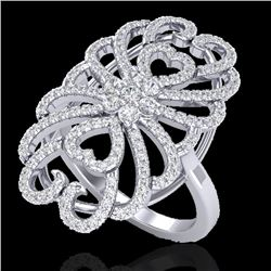 2.25 CTW Micro Pave VS/SI Diamond Designer Inspired Ring 18K White Gold - REF-191K3W - 20887