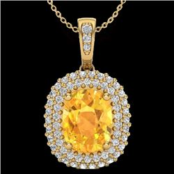 3 CTW Citrine & Micro Pave VS/SI Diamond Certified Halo Necklace 14K Yellow Gold - REF-65X5R - 20412