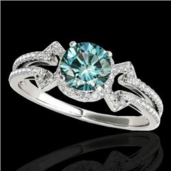1.36 CTW SI Certified Fancy Blue Diamond Solitaire Ring 10K White Gold - REF-169A3V - 35327