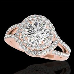1.90 CTW H-SI/I Certified Diamond Solitaire Halo Ring 10K Rose Gold - REF-209Y3X - 34388