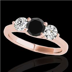 2 CTW Certified VS Black Diamond 3 Stone Solitaire Ring 10K Rose Gold - REF-177N3A - 35389
