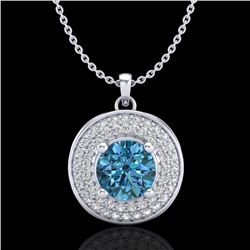 1.25 CTW Fancy Intense Blue Diamond Solitaire Art Deco Necklace 18K White Gold - REF-161A8V - 38139