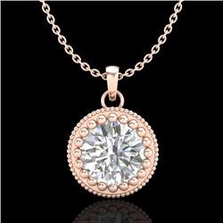 1 CTW VS/SI Diamond Solitaire Art Deco Necklace 18K Rose Gold - REF-292K5W - 36891