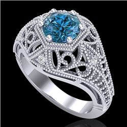 1.07 CTW Fancy Intense Blue Diamond Solitaire Art Deco Ring 18K White Gold - REF-218A2V - 37551