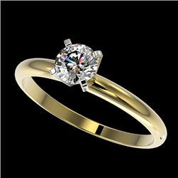 0.55 CTW Certified H-SI/I Quality Diamond Solitaire Engagement Ring 10K Yellow Gold - REF-65M5F - 36