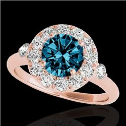 1.50 CTW SI Certified Fancy Blue Diamond Solitaire Halo Ring 10K Rose Gold - REF-172F7N - 33460