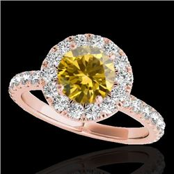 2 CTW Certified SI/I Fancy Intense Yellow Diamond Solitaire Halo Ring 10K Rose Gold - REF-227A3V - 3