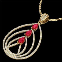 2 CTW Ruby & Micro Pave VS/SI Diamond Certified Designer Necklace 18K Yellow Gold - REF-133F3N - 224
