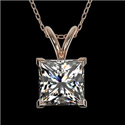 1.25 CTW Certified VS/SI Quality Princess Diamond Necklace 10K Rose Gold - REF-423M3F - 33215