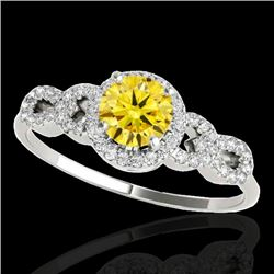 1.33 CTW Certified SI/I Fancy Intense Yellow Diamond Solitaire Ring 10K White Gold - REF-213W6H - 35