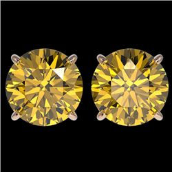 4 CTW Certified Intense Yellow SI Diamond Solitaire Stud Earrings 10K Rose Gold - REF-930W2H - 33140