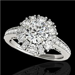 2.16 CTW H-SI/I Certified Diamond Solitaire Halo Ring 10K White Gold - REF-267M3F - 33985