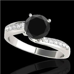 1.40 CTW Certified VS Black Diamond Bypass Solitaire Ring 10K White Gold - REF-54A2V - 35075