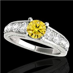 2.55 CTW Certified SI/I Fancy Intense Yellow Diamond Solitaire Ring 10K White Gold - REF-294K5W - 35