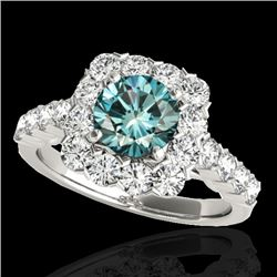 2.5 CTW SI Certified Fancy Blue Diamond Solitaire Halo Ring 10K White Gold - REF-230M9F - 33348