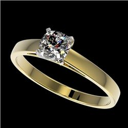 0.50 CTW Certified VS/SI Quality Cushion Cut Diamond Solitaire Ring 10K Yellow Gold - REF-64V3Y - 32