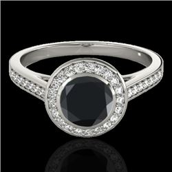1.30 CTW Certified VS Black Diamond Solitaire Halo Ring 10K White Gold - REF-65N8A - 33628