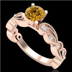 1.01 CTW Intense Fancy Yellow Diamond Engagement Art Deco Ring 18K Rose Gold - REF-143F6N - 38275