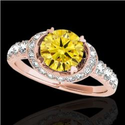 1.75 CTW Certified SI/I Fancy Intense Yellow Diamond Solitaire Halo Ring 10K Rose Gold - REF-180A2V