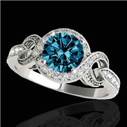1.33 CTW SI Certified Fancy Blue Diamond Solitaire Halo Ring 10K White Gold - REF-159R6K - 33810