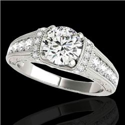 1.50 CTW H-SI/I Certified Diamond Solitaire Antique Ring 10K White Gold - REF-180M2F - 34774