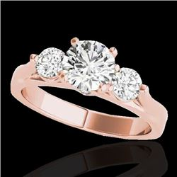 1.50 CTW H-SI/I Certified Diamond 3 Stone Solitaire Ring 10K Rose Gold - REF-180X2R - 35368