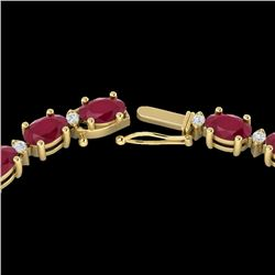 35 CTW Ruby & VS/SI Diamond Certified Eternity Tennis Necklace 10K Yellow Gold - REF-229N3A - 21602