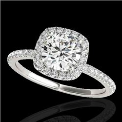 1.50 CTW H-SI/I Certified Diamond Solitaire Halo Ring 10K White Gold - REF-209H3M - 33334