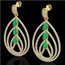 4 CTW Emerald & Micro Pave VS/SI Diamond Certified Earrings 18K Yellow Gold - REF-307R3K - 22456