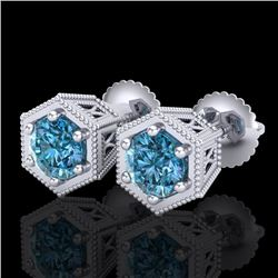 1.15 CTW Fancy Intense Blue Diamond Art Deco Stud Earrings 18K White Gold - REF-127N3A - 38041