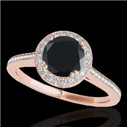 1.55 CTW Certified VS Black Diamond Solitaire Halo Ring 10K Rose Gold - REF-90Y2X - 33530