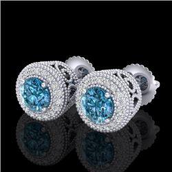 1.55 CTW Fancy Intense Blue Diamond Art Deco Stud Earrings 18K White Gold - REF-169R3K - 37656